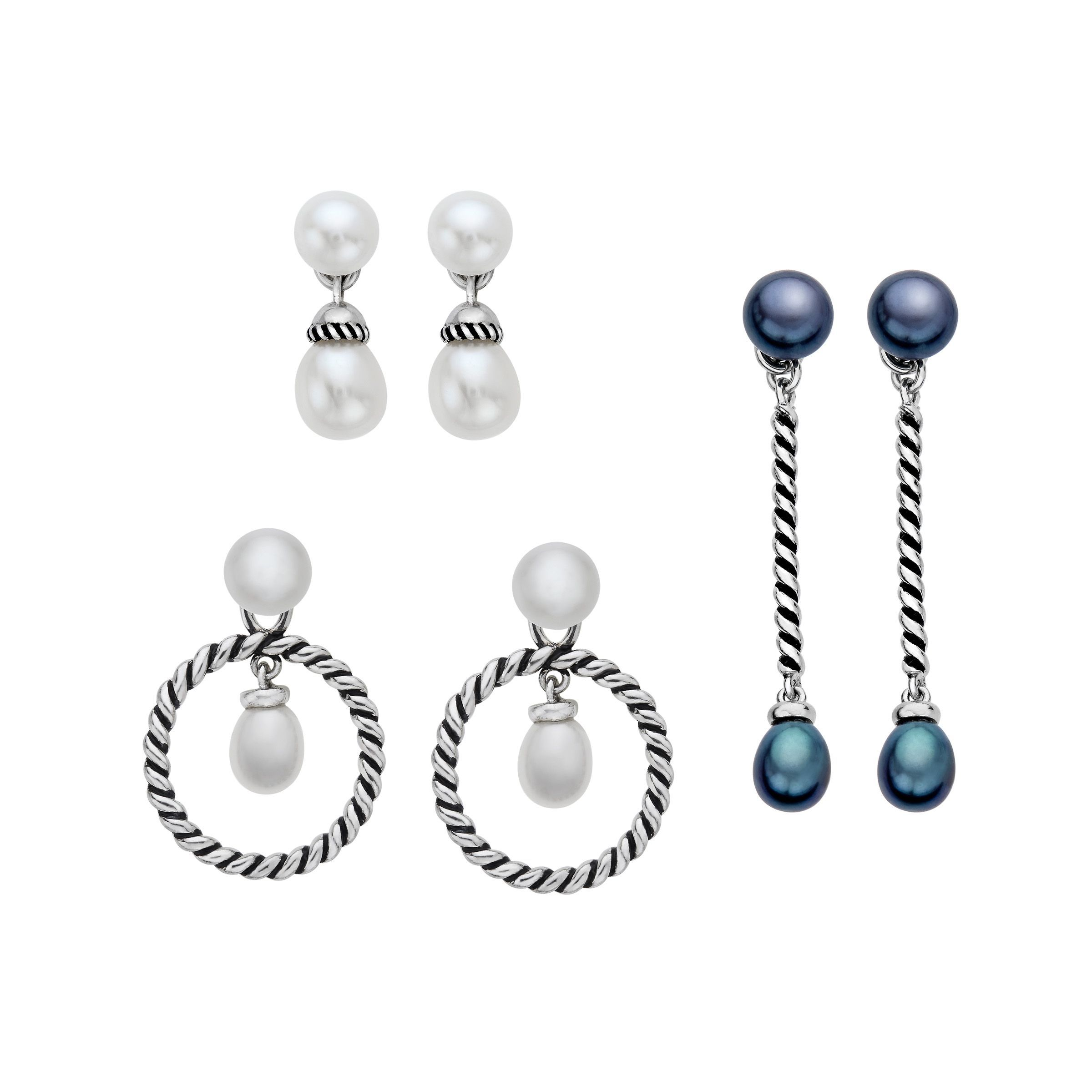 jewelry pearl earrings freshwater interchangeable sterling in drop silver backs with mm