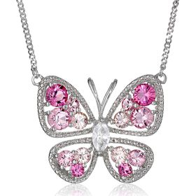 Butterfly Necklace with Pink & White Crystals