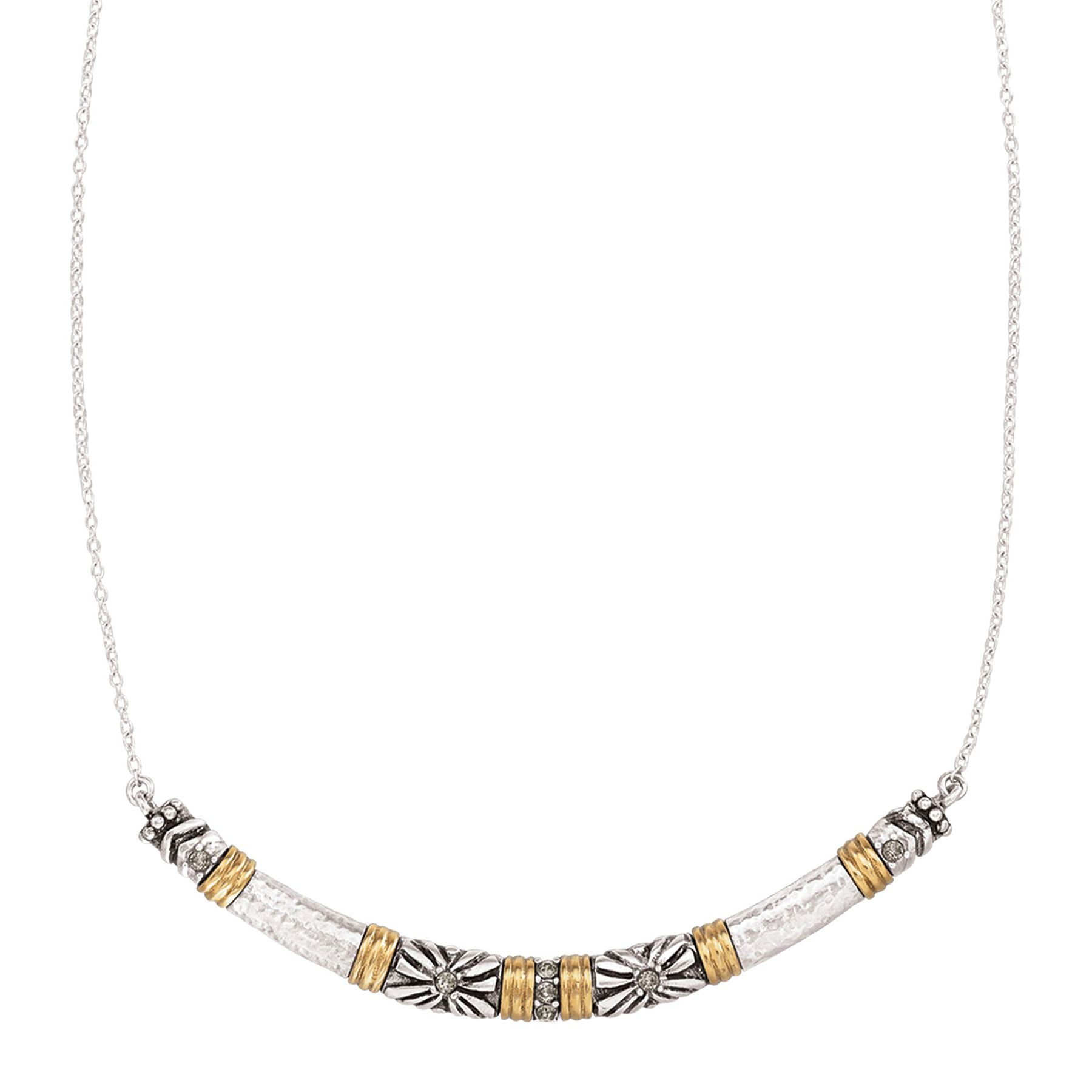 Silpada Canyon Dreams Curved Bar Necklace With Swarovski Crystals In Sterling Silver Br