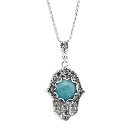 Silpada hamsa hand 4 34 ct natural blue jade pendant in rhodium hamsa hand pendant aloadofball Choice Image