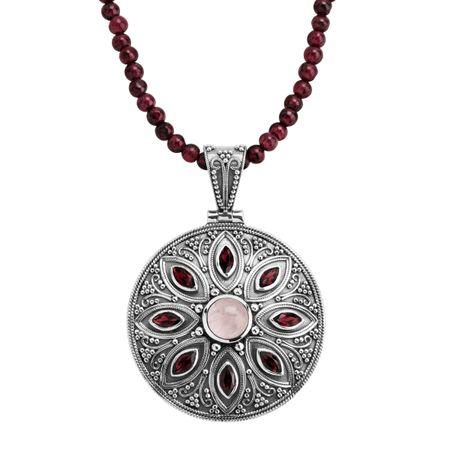 Silpada 'Ruby Falls' Natural Garnet & Rose Quartz Medallion Pendant in  Sterling Silver