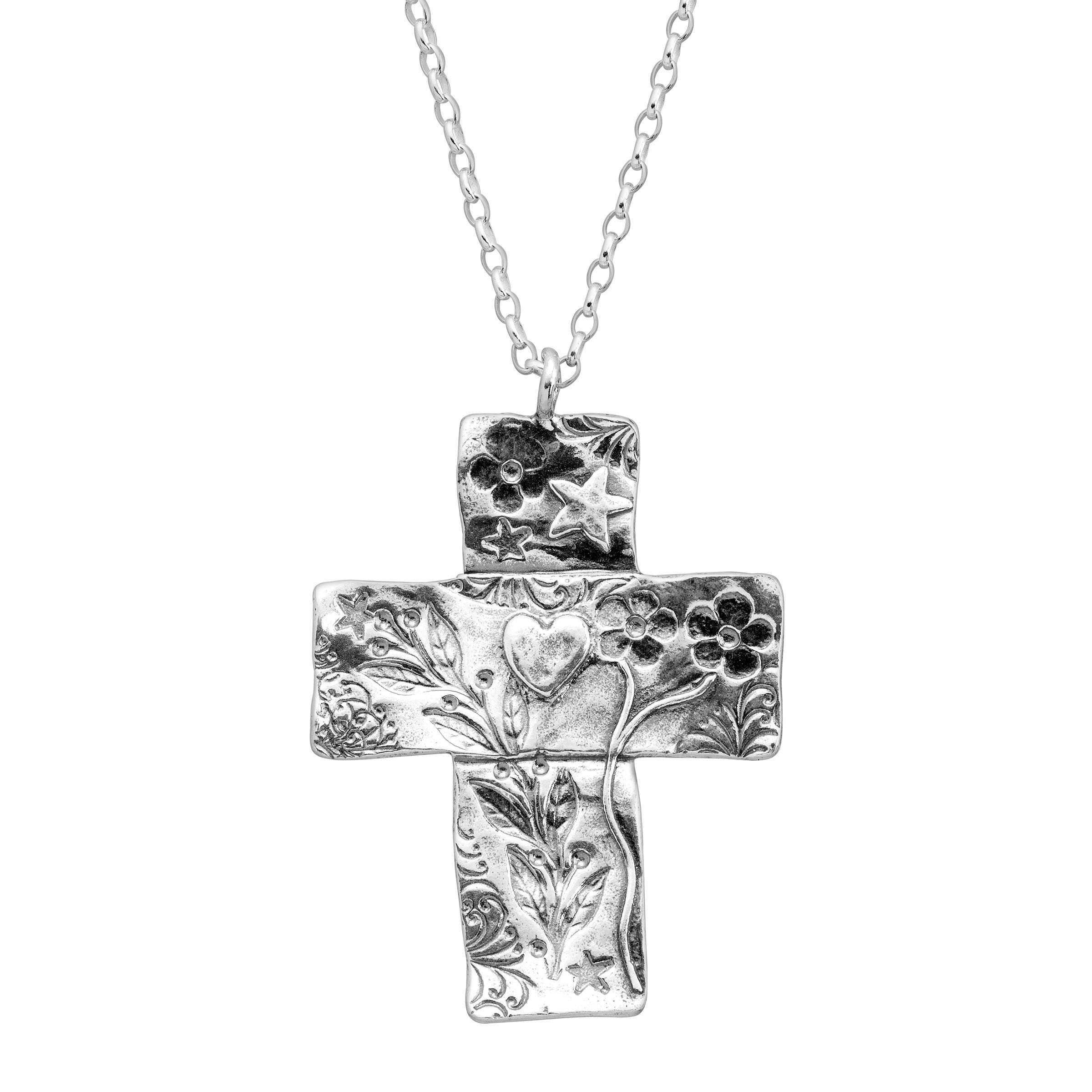 925 Sterling Silver Antiqued Flowered Cross Shaped Pendant