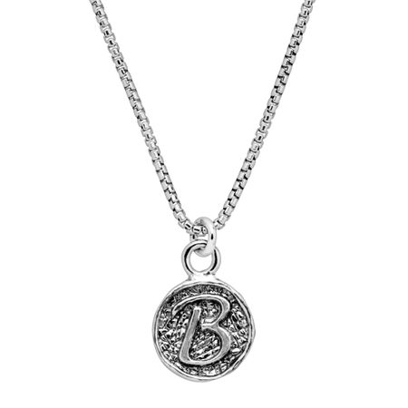 Stamped 'B' Initial Pendant