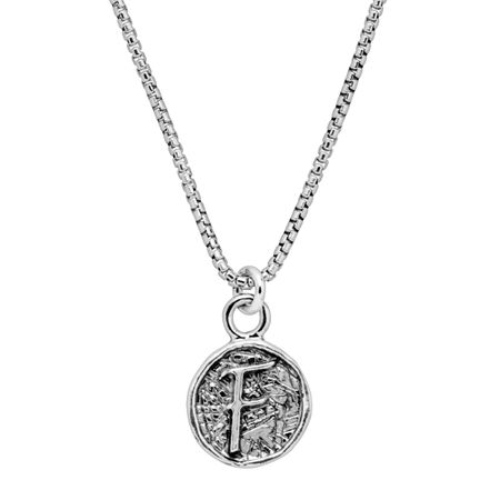 Stamped 'F' Initial Pendant