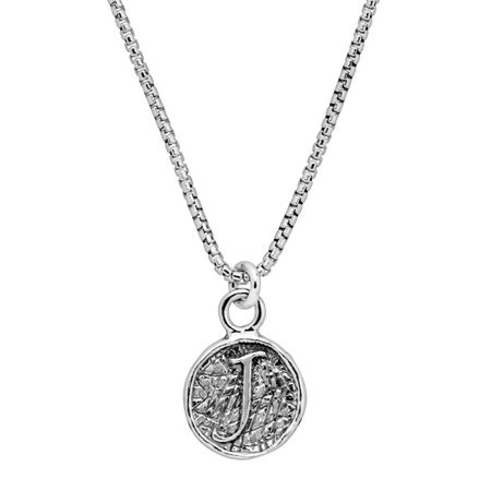 2857501e1666f Silpada Stamped 'J' Initial Disc Pendant in Textured Sterling Silver, 18