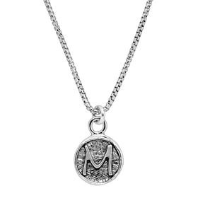Stamped 'M' Initial Pendant
