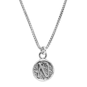 Stamped 'N' Initial Pendant