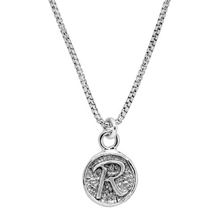 Stamped 'R' Initial Pendant