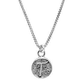 Stamped 'T' Initial Pendant