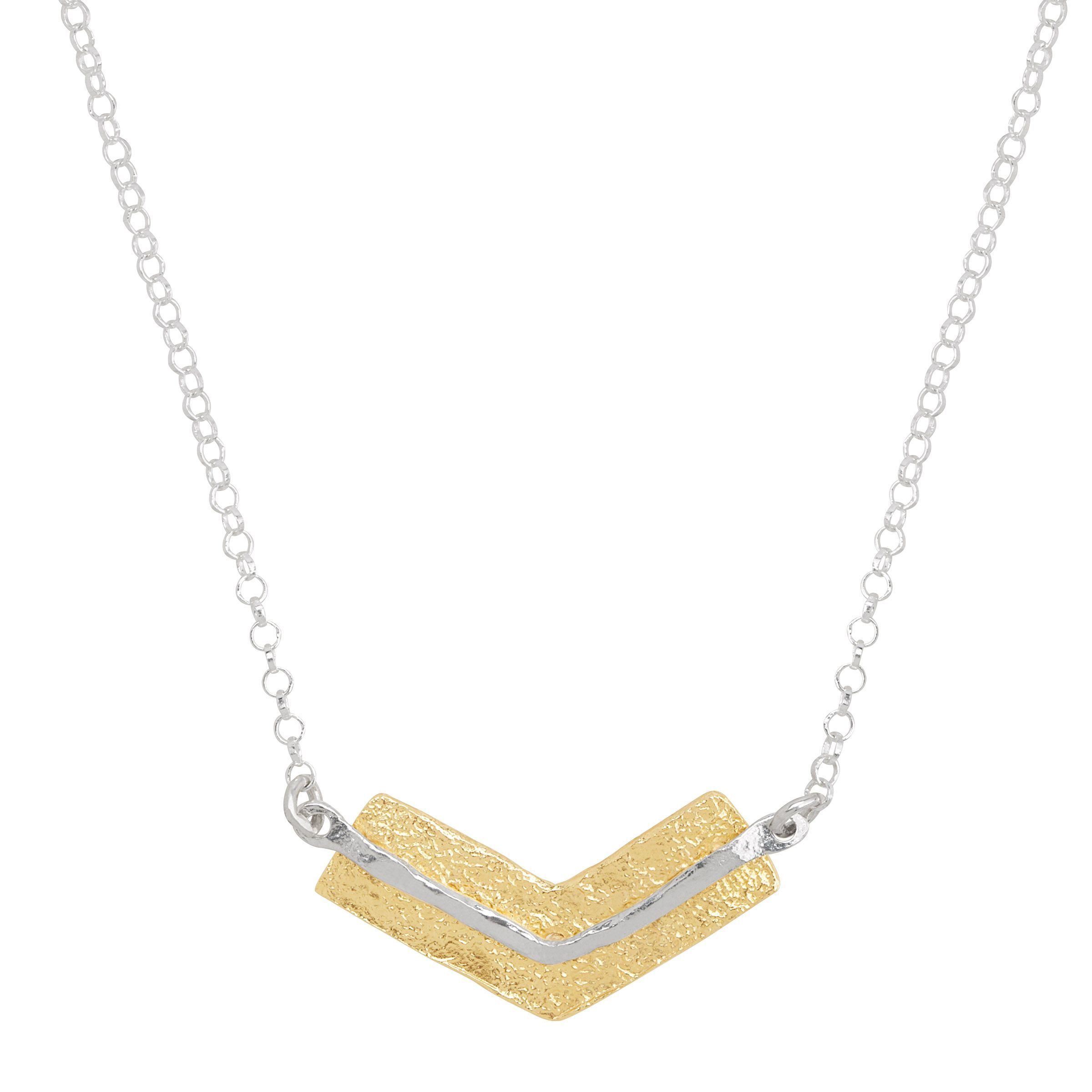 silver and gold chevron necklace
