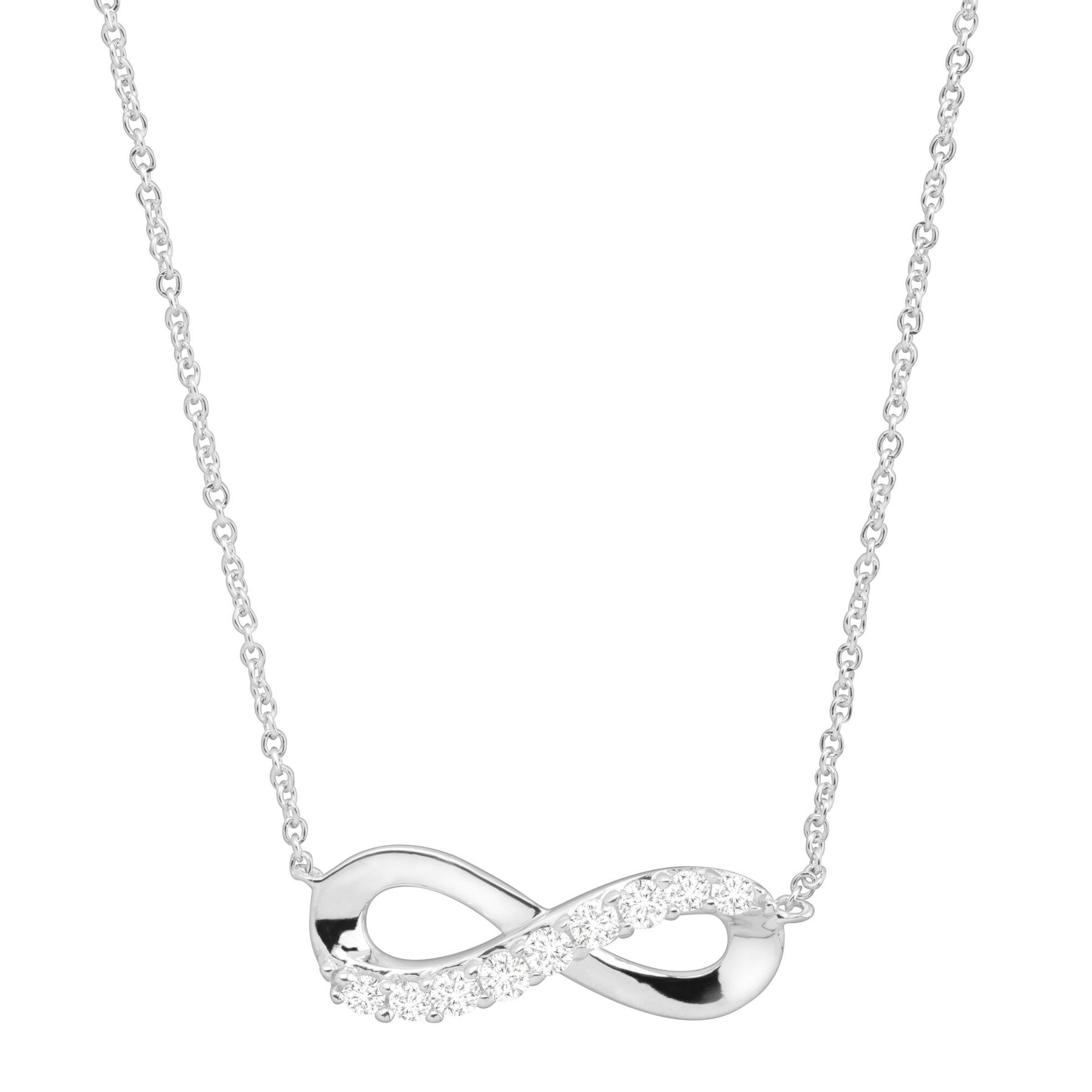 Infinity Symbol Necklace With Cubic Zirconia In Sterling Silver