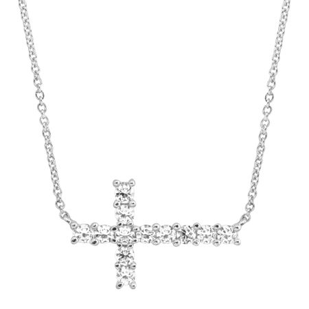 Horizontal Cross Necklace with Cubic Zirconia