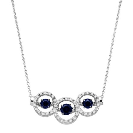 1 ct Blue & White Sapphire Floater Garland Necklace