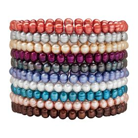 Set of 10 6-7 mm Ringed Pearl Multi-Color Stretch Bracelets