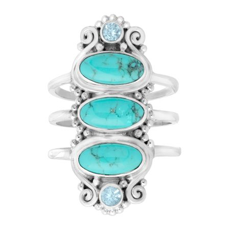 Turquoise & Blue Topaz Knuckle Ring