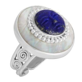 Carved Lapis & Mother-of-Pearl Goddess Ring