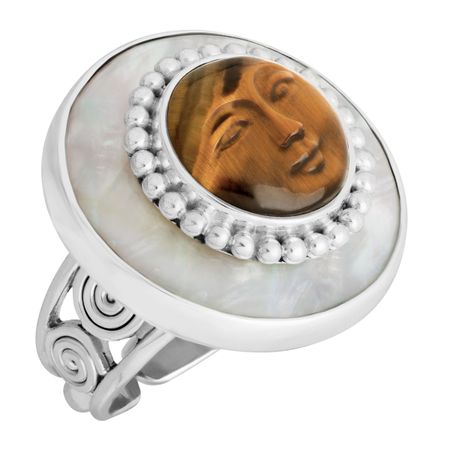 Carved Tiger's Eye & Mother-of-Pearl Goddess Ring