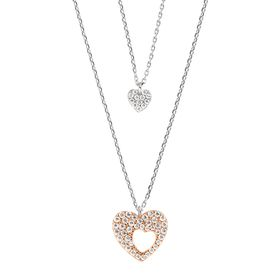 Mother & Daughter Duo Heart Pendants with Cubic Zirconia
