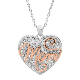 'Mom' Two-Tone Heart Pendant with Crystals