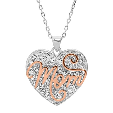 7b402882c3ca28 Mom' Two-Tone Heart Pendant with Crystals in Rose Gold Plated ...