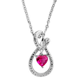 Ruby Infinity Loop Pendant with Diamond