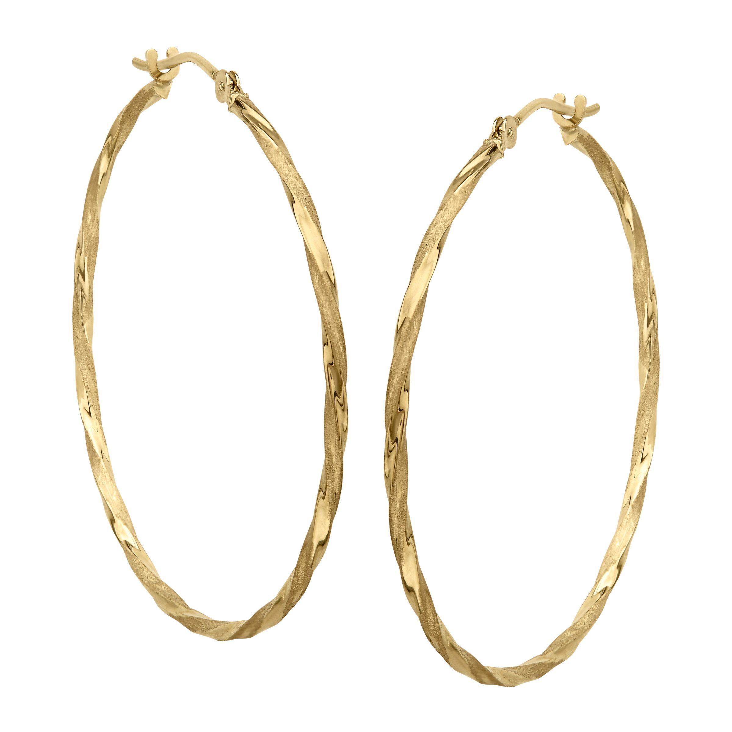 Eternity Gold Twisted Hoop Earrings In 14k