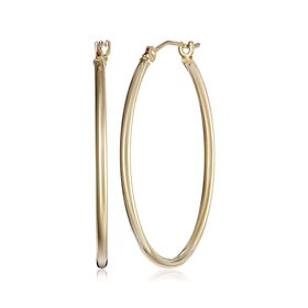 28 mm Classic Tube Hoop Earrings, Yellow