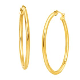 37 mm Polished Tube Hoop Earrings