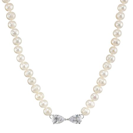 7-8 mm Pearl Strand Necklace with Cubic Zirconia Bow