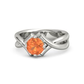 Round Fire Opal 14K White Gold Ring
