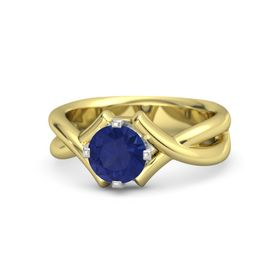 Round Blue Sapphire 14K Yellow Gold Ring