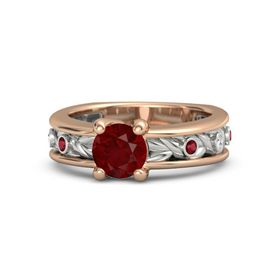 Round Ruby 14K Rose Gold Ring with Ruby and White Sapphire