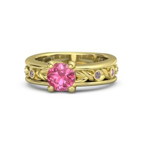 Round Pink Tourmaline 14K Yellow Gold Ring with Rhodolite Garnet and Pink Sapphire