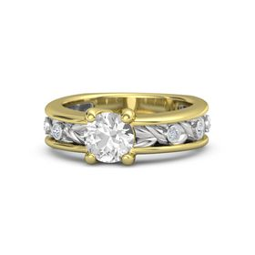 Round Rock Crystal 14K Yellow Gold Ring with Diamond