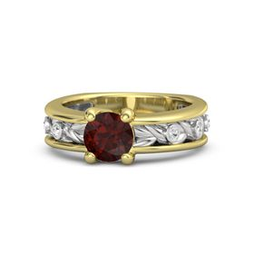 Round Red Garnet 14K Yellow Gold Ring with White Sapphire