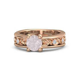 Round Rose Quartz 18K Rose Gold Ring with Diamond