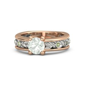 Round Green Amethyst 18K Rose Gold Ring with Peridot and Green Tourmaline