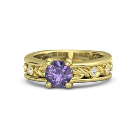 Round Iolite 18K Yellow Gold Ring with White Sapphire