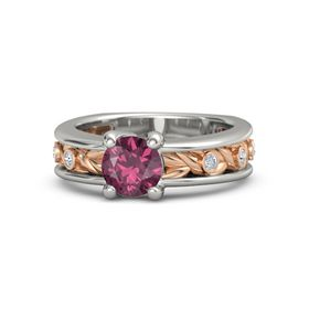 Round Rhodolite Garnet Palladium Ring with Diamond
