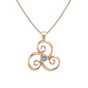 Round London Blue Topaz 14K Rose Gold Necklace