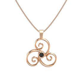 Round Black Diamond 14K Rose Gold Necklace