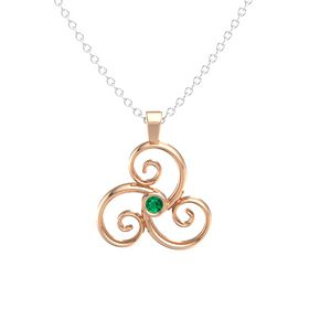 Round Emerald 14K Rose Gold Necklace