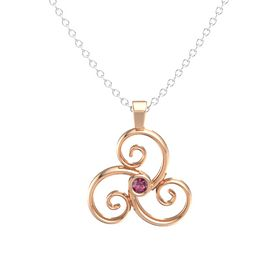 Round Rhodolite Garnet 14K Rose Gold Necklace