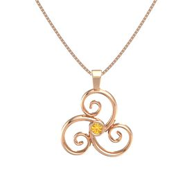 Round Citrine 14K Rose Gold Necklace