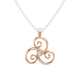 Round White Sapphire 14K Rose Gold Necklace