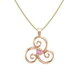 Round Pink Sapphire 14K Rose Gold Pendant