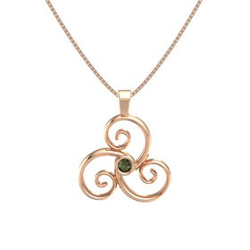 Round Green Tourmaline 14K Rose Gold Necklace