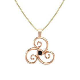 Round Black Onyx 14K Rose Gold Pendant