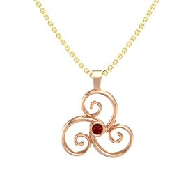 Round Ruby 14K Rose Gold Pendant
