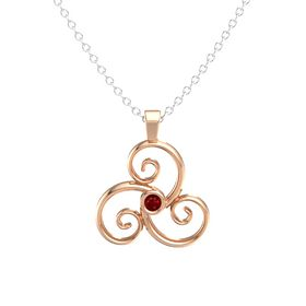 Round Ruby 14K Rose Gold Necklace